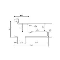 TGS1 escalator guide rail for Fujitec escalator 97.5*66.5mm