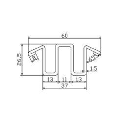 0430CBL001 escalator guide rail for Fujitec escalator 60*26.5mm