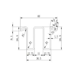 5P6K1208 escalator guide rail for Toshiba escalator 36.5*26.5mm